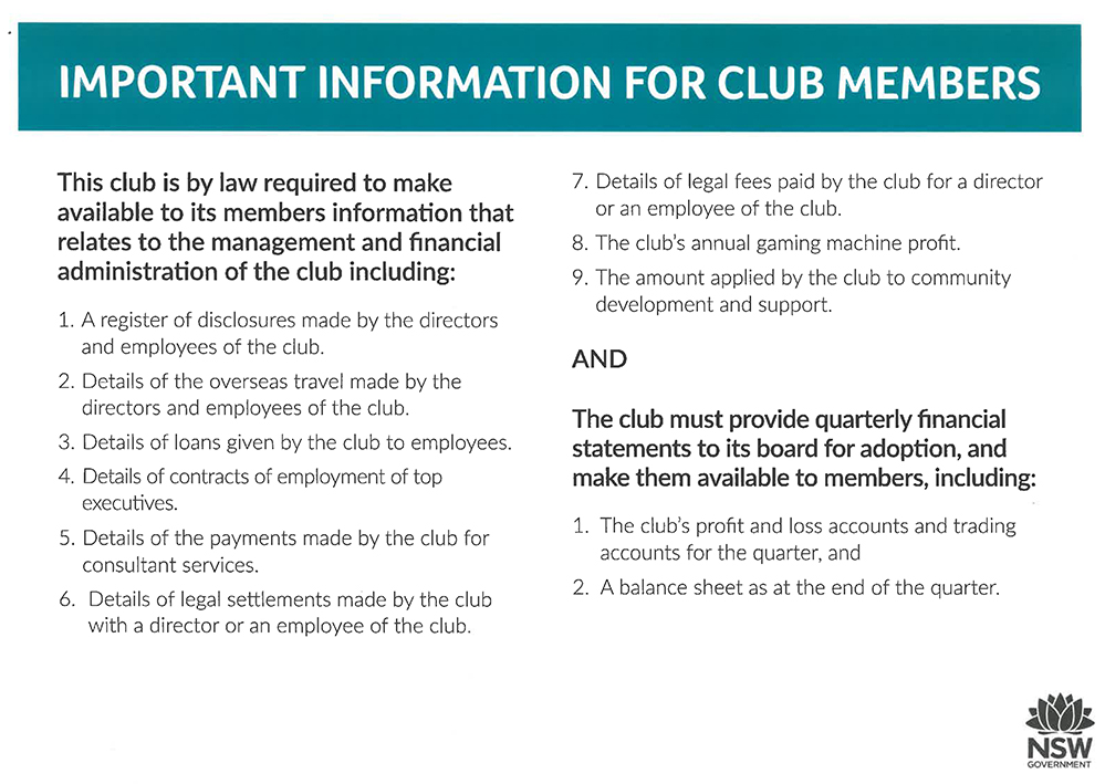important information for club members