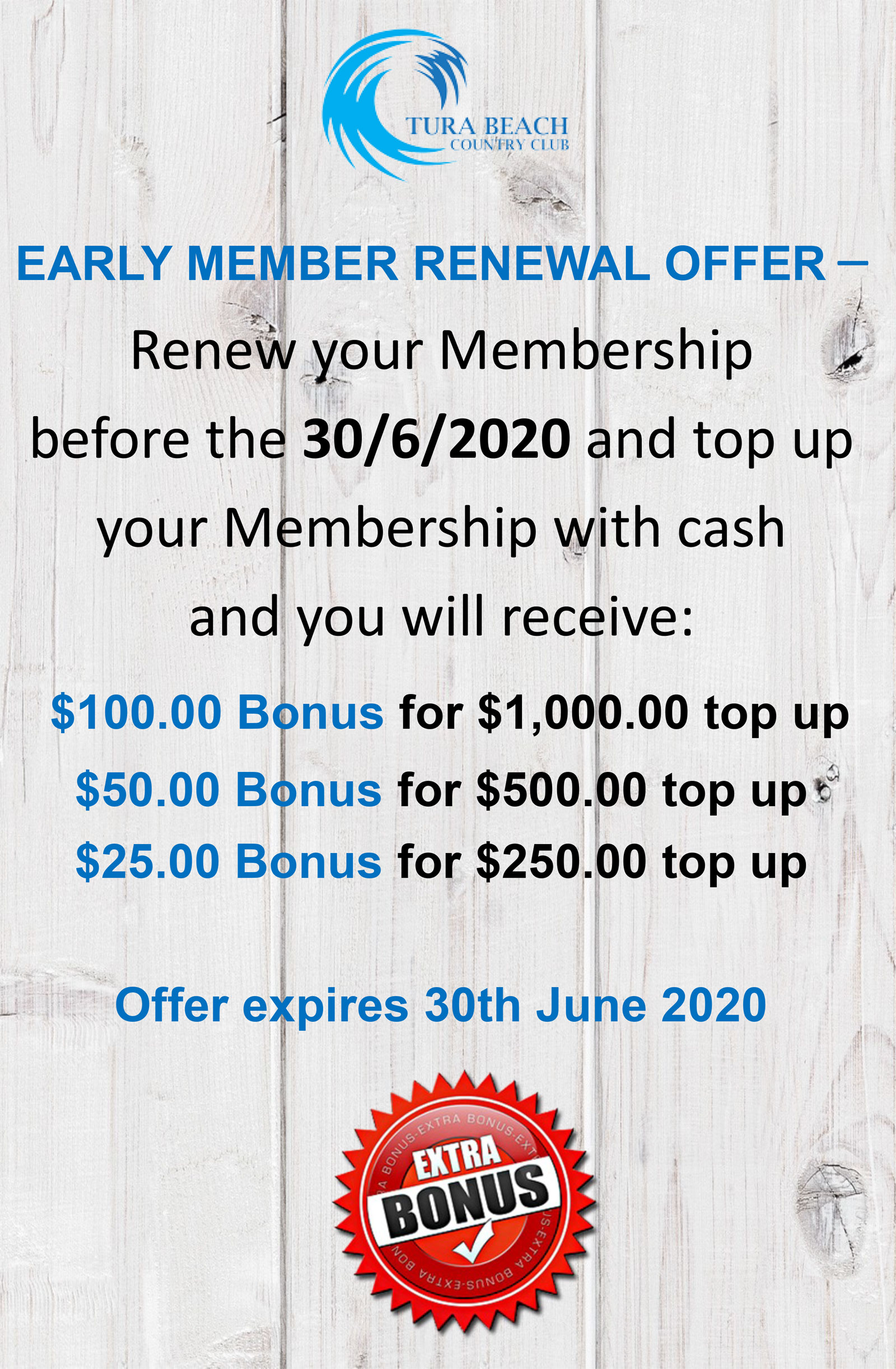 early member renewal offer tura beach country clulb