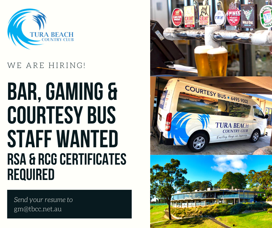 staff wanted tura beach country club