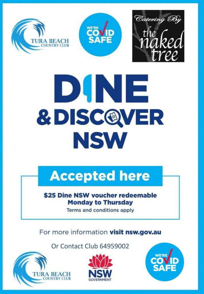 Dine and Discover NSW vouchers accepted at Tura Beach Country Club