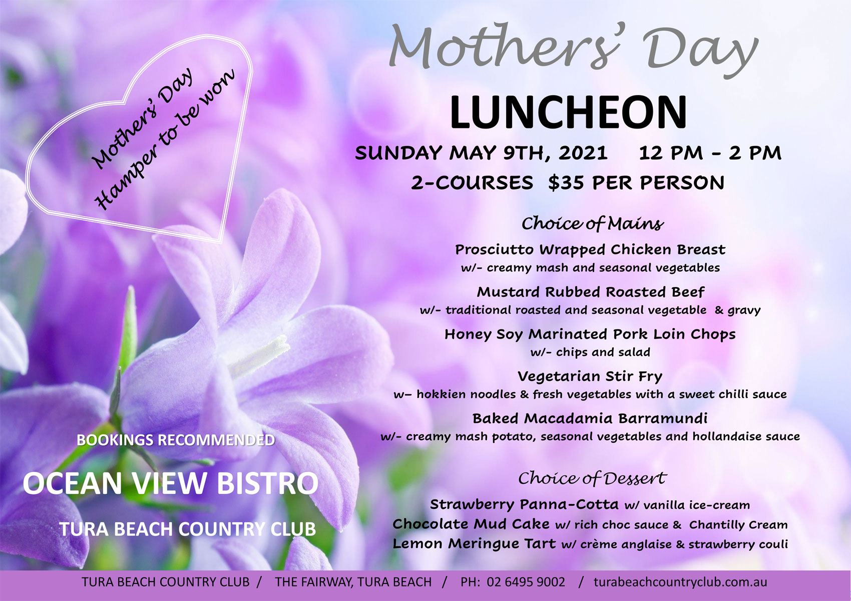 mothers day at tura beach country club